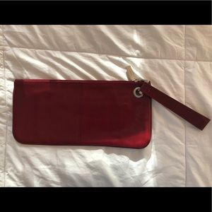 HOBO Red Leather Clutch Wristlet